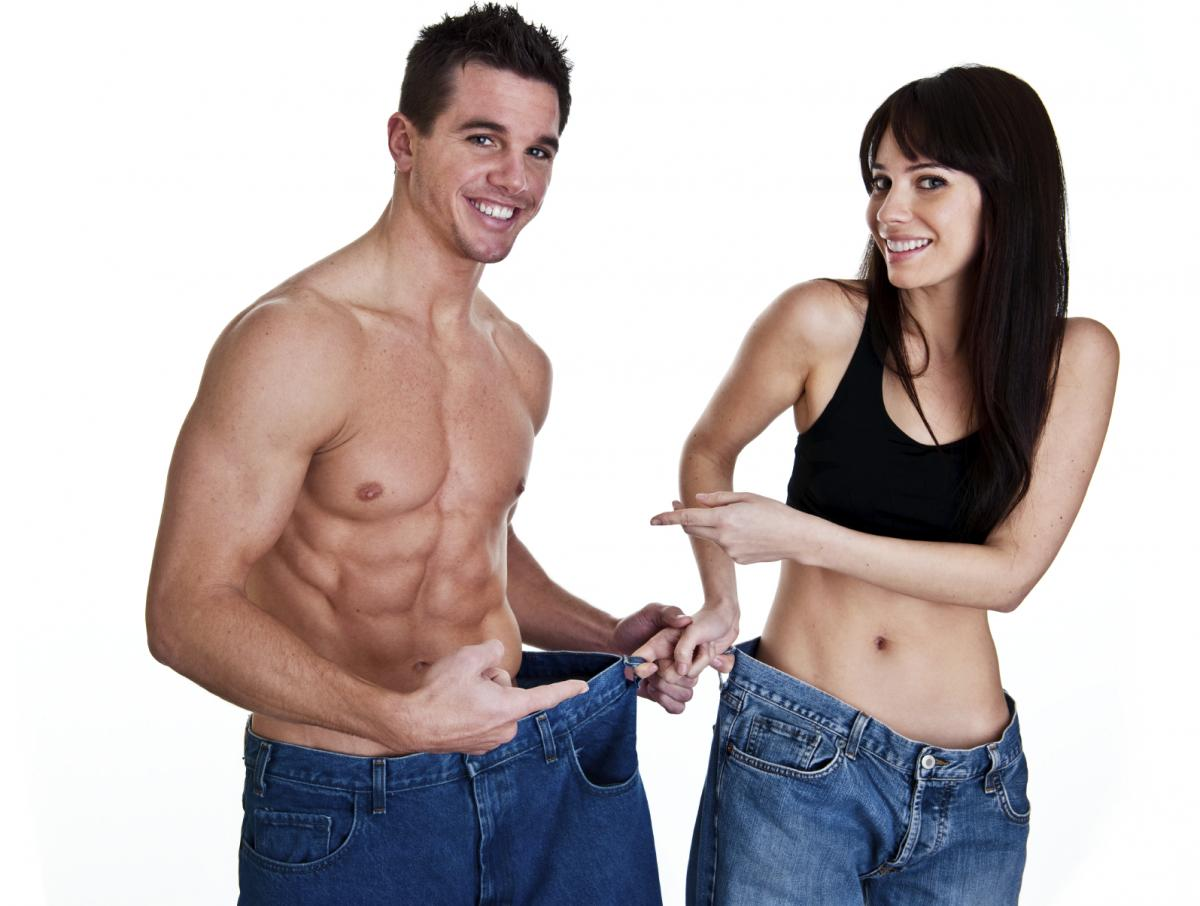 Похудевшие парень и девушка