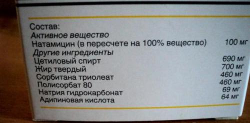 Состав свечей Пимафуцин